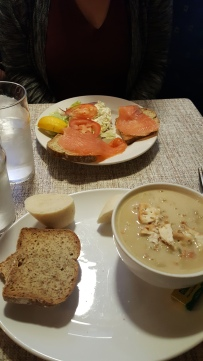 Course 1: J=Seafood chowder with soda bread, A=Smoke Salmon on soda bread, salad and coleslaw on the side