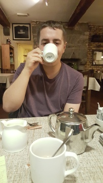 Finished off dinner with some coffee, tea, & sleepy eyes